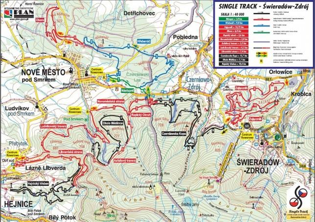 Mapa Single Track'ów dostarczona dzięki uprzejmości UM Świeradów-Zdrój